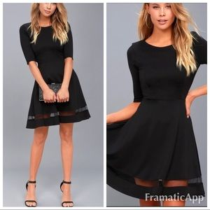 New Lulu's sheer factor black skater dress mesh